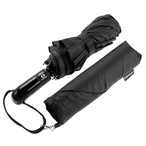 Ergonauts Windproof Vented Double Canopy Travel Umbrella – Teflon Coating, Ergonomic Handle & Protective Sleeve – Portable Compact Foldable Lightweight Design and High Wind Resistance (Classic Black)