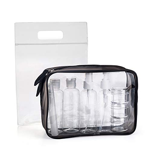 MOCOCITO Clear Toiletry Bag with 8 Bottles(max.3.04oz/100ml) 1 Flight Air Bag(20cm x 20cm) Approved by EU & UK Hand Luggage Relugations Transparent Zipper Bag for Cosmetics Wash Bag Kit Make up Pouch