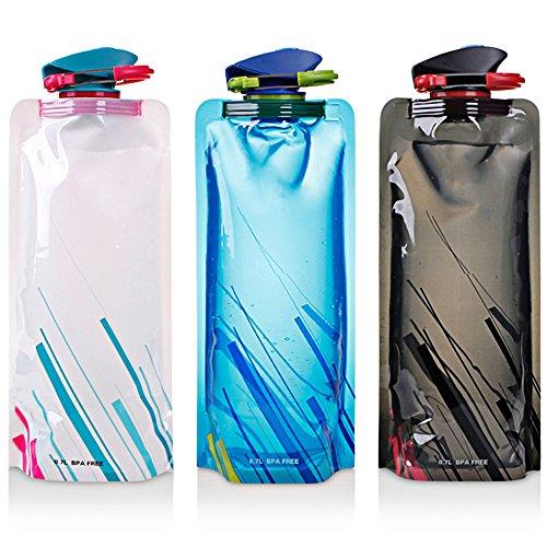 Foldable Water Bottle Pack of 3, Maxin Flexible Foldable Reusable Water Bottles For Hiking, Travel, Adventure, 700ml