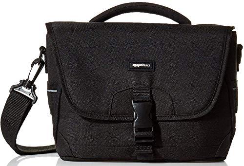 Amazon Basics - Medium shoulder bag for SLR camera and accessories, Black with orange interior