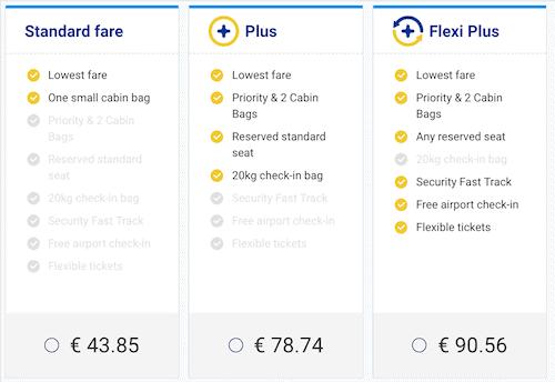 Ryanair Tariffs
